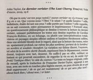 article sur Dernier Cerisier par Olivier Massé--Diérèse n°76